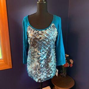 NWT AGB raglan blouse cobalt blue